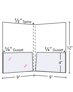 ½''  Spine Capacity + ¼'' Gusset On Two Pockets